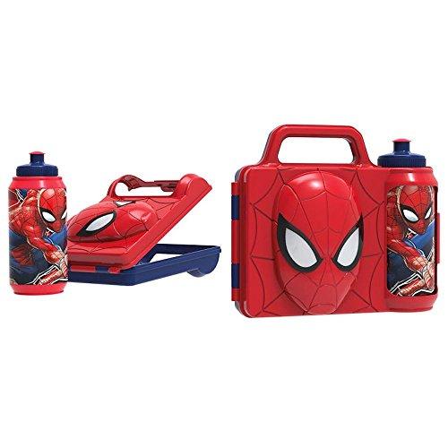les colis noirs lcn Combo Set 3D Boite a Gouter et Gourde Spiderman Marvel - Goûter Enfant Ecole Rentrée - 955