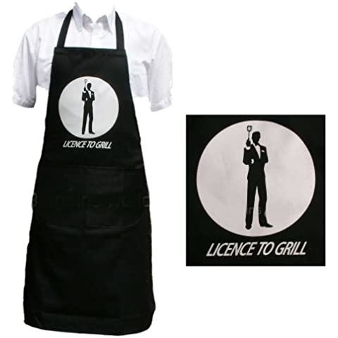 Licence to Grill James Bond 007 Novelty Apron for Men & Women, BBQ or Kitchen. Fantastic Gift! by Silver Bullet