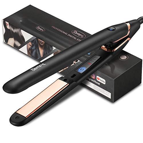 Deogra Glätteisen Locken und Glätten Profi Haarglätter mit Nano Titan-Platten, Einstellbare Temperatur (120°C-230°C), 15 Sekunden Aufheizzeit, LCD Touch-Schalter, Dual Spannung für Reise