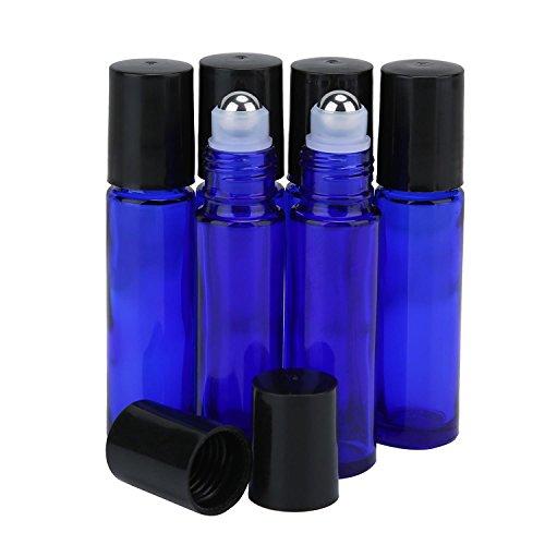 Aolvo leere Glas-Rollerflaschen für ätherische Öle, auffüllbar, auslaufsichere Behälter, mit 6 Edelstahl-Rollkugeln, Roller für Parfüm, Aromatherapie, Bio-Beauty-Flaschen, 10 ml, kobaltblau