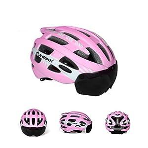 Casco De La Bicicleta De Inbike, Espejo Magnético Desmontable De La Protección De Ojo, Unisex, Montaña De La Bicicleta Y Protección Ajustable De La Seguridad De La Bici Del Camino Y Casco Respirable, M,Pink