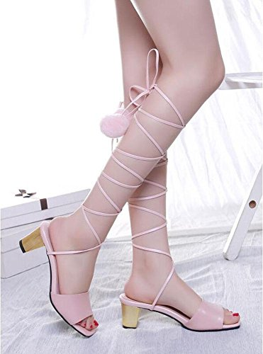 SHINIK Damen öffnen Zehe Pumps Sommer Leder Schuhe Lace Atemberaubende kalte Bein Fersen können angepasst werden 33-42 Größe Pink