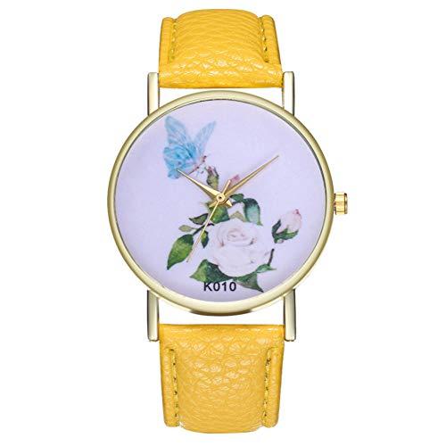 CJWANXF Damenuhr Damenuhr Modische Blume Schmetterling Temperament Trend Damen Armbanduhren Für Frauen, gelb -