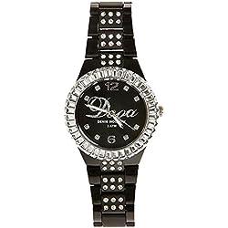 Dooa Time 0R06DW Women's Quartz Watch with Rhinestones, Black, One Size