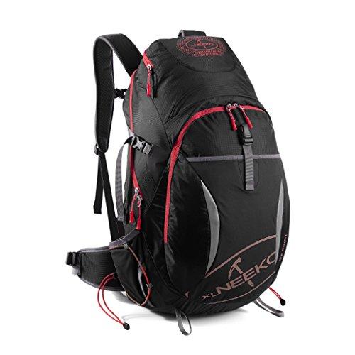AMOS Bergsteigen Tasche Schulter Männer und Frauen große Kapazität 40L Outdoor Reise Rucksack Wandern Paket reflektierende Schwarz