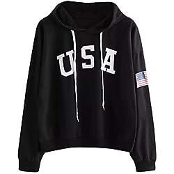 Sudaderas Adolescentes Chicas, Fossen Sudaderas Mujer Tumblr con Capucha - Emoticon Estampado Camiseta Blusa Tops de Manga Larga (Negro~USA Patrón de Bandera, L)