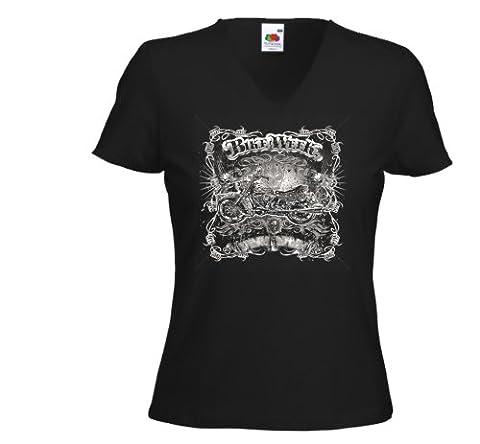 Biker Ladies T-Shirt Bike Week 2 Motorcycle Tattoo V8 Gr.L
