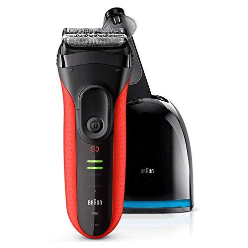 Braun Series 3 ProSkin 3050cc Elektrorasierer, mit Reinigungs- und Ladestation, Präzisionstrimmer, wiederaufladbarer und kabelloser Rasierer Herren, schwarz/rot