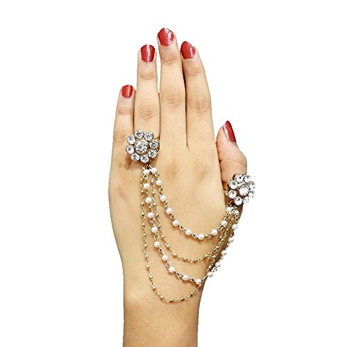 JewelMaze White Pearl Austrian Stone Gold Plated Tassel Chain Double Finger Ring...