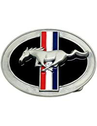 Mustang Belt Buckle Galloping Pony Design - Oval with 3 Stripes Authentic Officially Licensed Product
