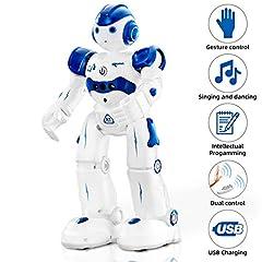 Idea Regalo - NEWYANG Robot Giocattolo Bambini - Robot Telecomandato con Intelligente Programmabile, Gesture Sensing,Parla,Cammina,Cantando e Balla,USB Ricarica Toy Robot (Blu)