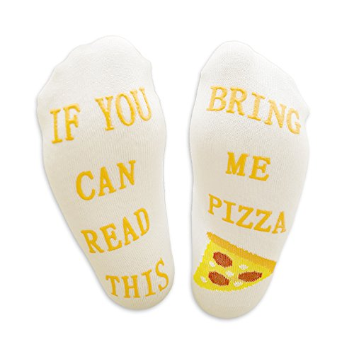 "Luxus-Pizza-Socken mit""If You Can Read This Bring Me Pizza\"" von Miana\'s (Geschenkidee, lustiges Wein-Zubehör für Frauen, tolles Geburtstags- & Gastgeschenk)"