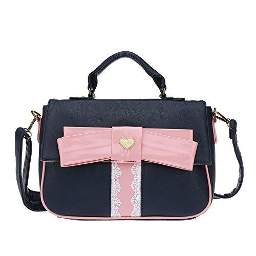 GWQGZ Mode Dame Bow Tie Handtasche Schöne Süße Umhängetasche Schwarz