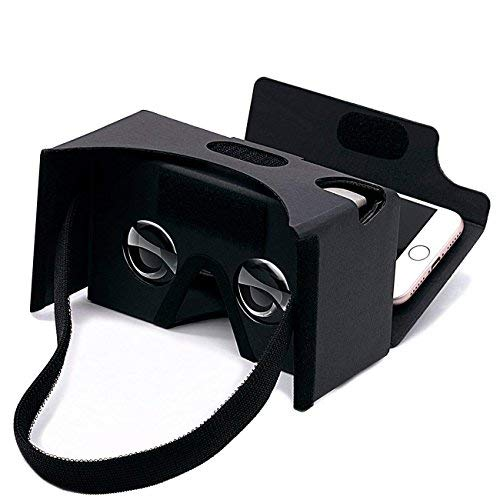Google Cardboard 3D Virtual Reality Headset Glasses,DIY vr Cardboard Compatible with 3-6inch Screen Android and iphone Smartphone(Black)