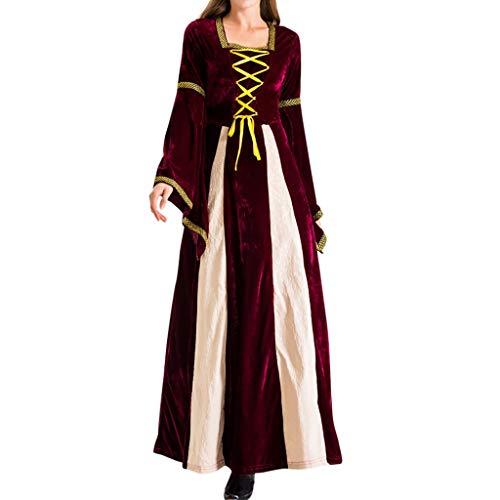 Saingace(TM) Frauen Halloween Vintage Kostüm,Frauen 2 Stück Magie Hexe Kleid Party Kostüm Cosplay Langes Kleid -