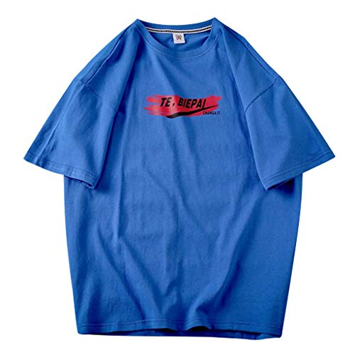Crazboy Herren Sommer Beiläufig Fashion Super Shirt Druck Top lose Kurzarm T-Shirt(XX-Large,Blau-A)