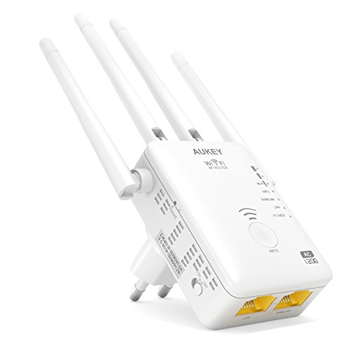 AUKEY - Ripetitore Wifi 5G Quad Band 1167Mbps 802.11ac Quad Antenne Esterne Range Extender Universale Con Cavo Ethernet RJ45 Repeater/AP/Router (Bianco)