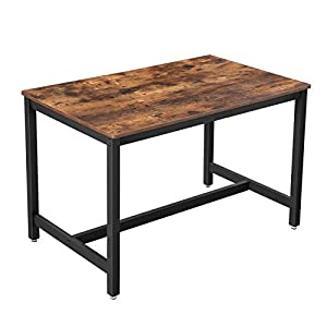 VASAGLE Küchentisch, Esstisch, 120 x 75 x 75 cm, Esszimmertisch für 4 Personen, Kaffeetisch, Wohnzimmer, Esszimmer, Stahlgestell, einfacher Aufbau, Industrie-Design, vintagebraun-schwarz KDT75X