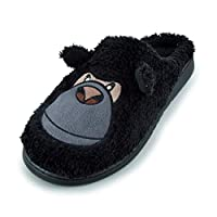 Keanu Mens/Boys Fleece Novelty Gorilla Embroidered Faux Fur Mule Slippers Mini Me Matching