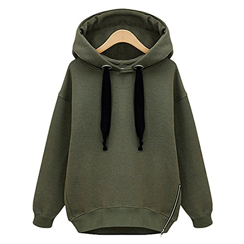 Vertvie Femme Sweat-Shirt à Capuche Lâche Fleece Blouse Hoodie Tops Casual Uni Automne Printemps (XL, Vert Armé)