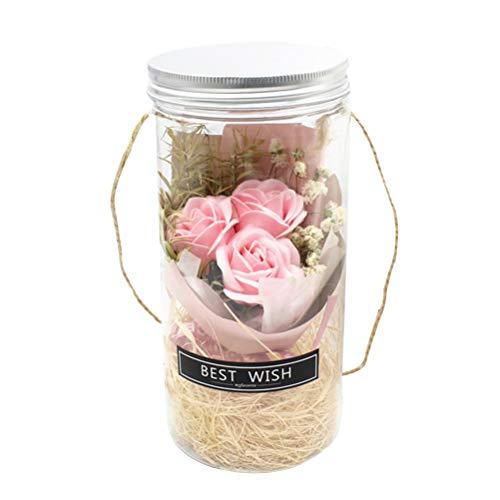 OSALADI Led Rose Flasche Lampe handgemachte konservierte Rose seife mit led Stimmung licht für Hochzeitstag Geburtstag Muttertag (Rosa) Rosa Rose Night Light