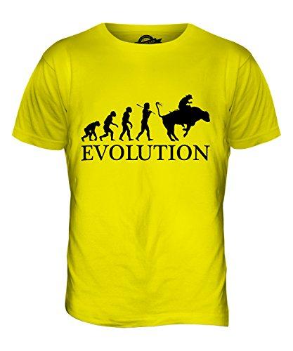 CandyMix Rodeo Evolution Des Menschen Herren T Shirt Zitronengelb
