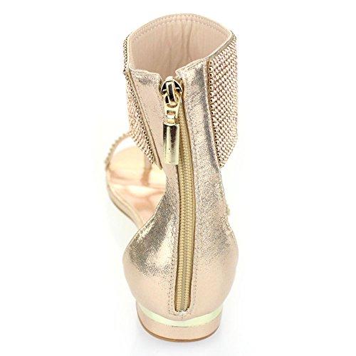 Aarz Frauen-Dame-Abend beiläufiger Komfort Wohnung Diamante Slipper Gladiator Sandale Schuh-Größe (Schwarz, Silber, Gold, Champagne) Champagne