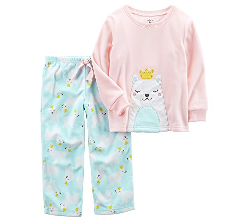 Carters Eisbär (Carter's 2 teiliger Fleece Schlafanzug 74/80 US Size 12 Month rosa Eisbär Mädchen Girl warm & weich)