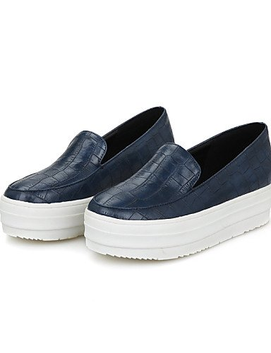 ZQ Scarpe Donna - Mocassini - Casual - Tacchi / Plateau / Punta arrotondata - Plateau - Finta pelle - Nero / Blu / Borgogna , blue-us10.5 / eu42 / uk8.5 / cn43 , blue-us10.5 / eu42 / uk8.5 / cn43 black-us4-4.5 / eu34 / uk2-2.5 / cn33