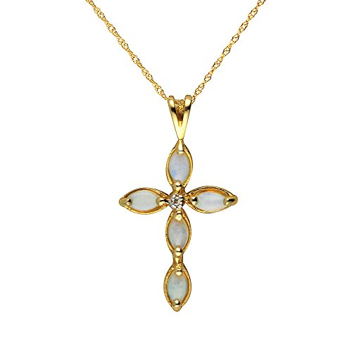 Ivy Gems Halskette mit Kreuzanhänger 9Karat Gelbgold mit Diamant und Opal, Kordelkette 46 Preisvergleich