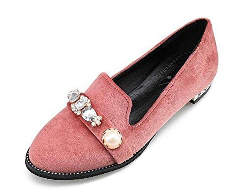 GLTER Frauen 's Court Schuhe Diamond Velvet Retro Schuhe Closed-Toe Pumps Sandalen flache Schuhe Pink