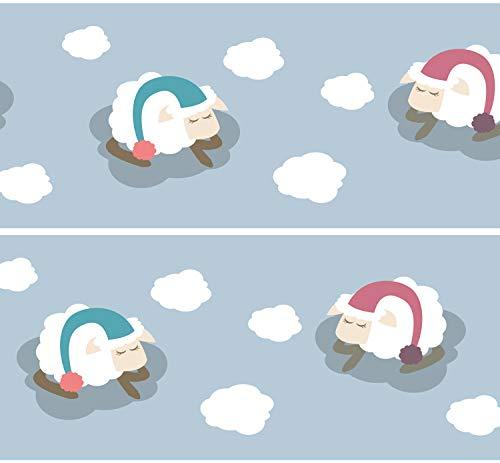 """Selbstklebende Bordüre """"Wolkenschafe"""", 4-teilig 560x15cm, Tapetenbordüre, Wandbordüre, Borte, Wanddeko,Schäfchen, Baby"""