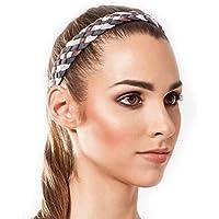 Sternitz Cintas de Pelo Trenzadas - Antiresbalante Yoga - Pilates - Running. Headbands (Gris)