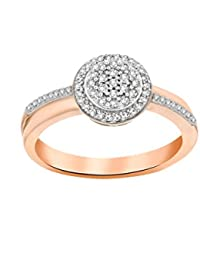 Pave Prive Women's 9ct Pink Gold Round White Diamonds Halo Disk Ring