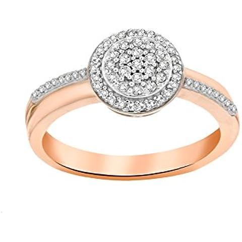 Pave Prive mujeres de 14ct oro rosa redondo anillo de diamantes de Halo Disco blanca tamaño–P