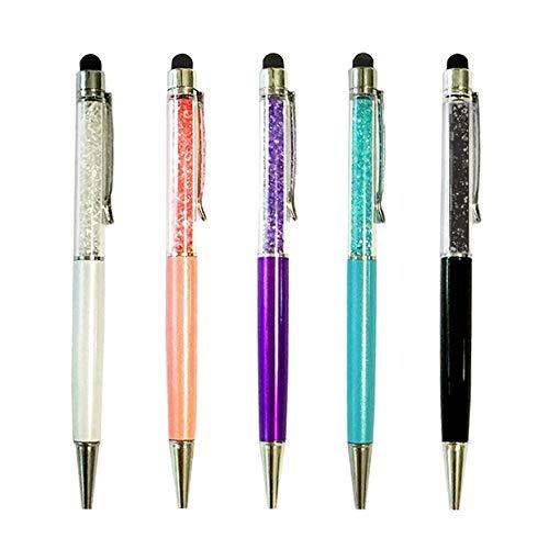 Xuxuou Eingabestift Touchstift Stift mit Glitzersteinen Pen mit Kugelschreiber Dual-Use-Stift Kapazitive Stylus Touch Pen für Tablets, Mobiltelefone und elektronische Geräte(5 PCS)