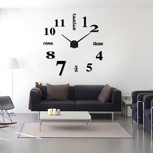 Ouneed Uhr , Acryl Moderne DIY Wanduhr 3D Spiegel Oberfläche Aufkleber Home Office Decor (Schwarz)