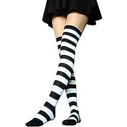 TININNA Medias Calcetines,clásico raya sobre la rodilla calcetines del muslo altos calcetines calcetines de alta rodilla sobre la rodilla Calcetines de las polainas de muchachas de las mujeres-En blanco y negro