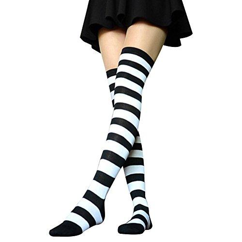 TININNA Classic Stripes Nel corso calze al ginocchio Stivali Alti calzini over knee Socks Calzini del ginocchio per le donne ragazze Bianco