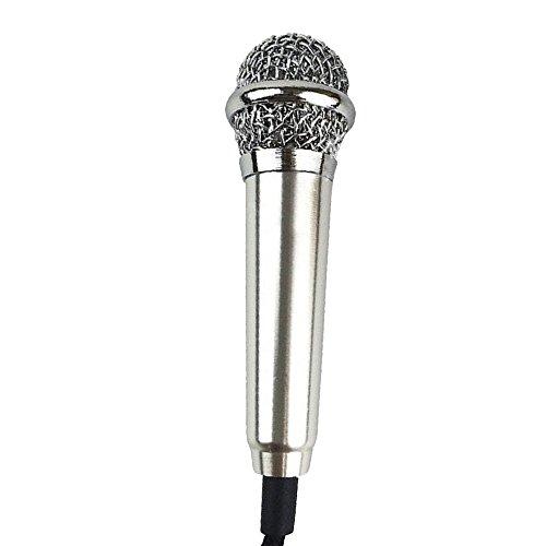 Cuitan Mini Micrófono de Condensador para Smartphone / Tablet PC / Desktop Computadora, Enchufe de 3.5mm Micrófono con Cable de Adaptador para Llamadas, Chateando, Grabación, Canto Karaoke - Plata