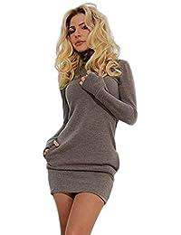 Manadlian Femme Mini-Robe Moulante à Manches Longues SoiréE Courte