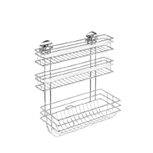 WENKO 5630100 Turbo-Loc kitchen roll holder Trio - fixing without drilling, Chrome plated metal, 32.5 x 34 x 15 cm, Silver shiny