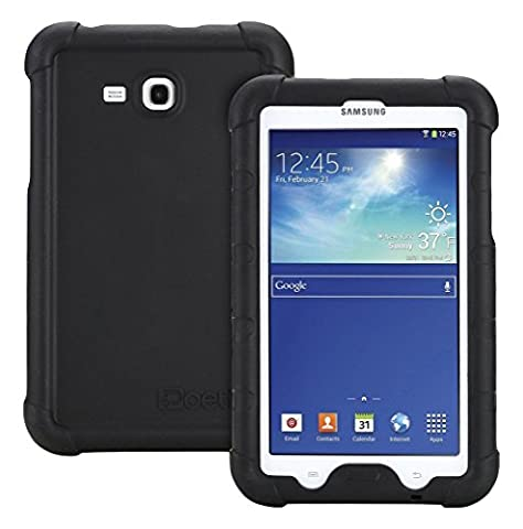 Samsung Galaxy Tab 3 Lite 7.0 Schutzhülle - Poetic Samsung Galaxy Tab 3 Lite 7.0 Case Hülle [Turtle Skin-Serie] - [Eck/Kantenschutz] [Griff] [Klangverstärkend] Schützende Silikon Case Hülle für das Samsung Galaxy Tab 3 Lite 7.0 Schwarz (3 Jahre Herstellergewährleistung von Poetic)