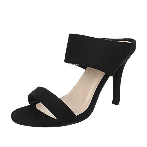 High Heel Sandaletten Damenschuhe Plateau Pfennig-/Stilettoabsatz High Heel Ital-Design Sandalen / Sandaletten Schwarz