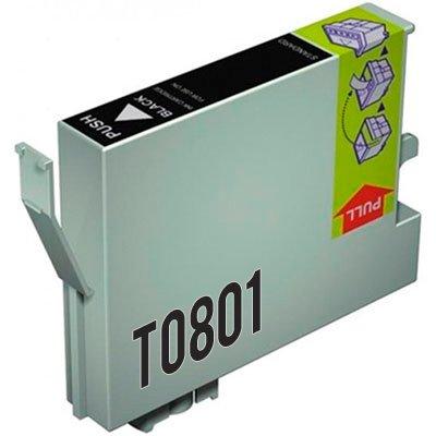 Preisvergleich Produktbild Epson T0801 Tintenpatrone schwarz OEM: C13T08014010 für Epson Stylus Photo P50, PX650, 700W, 710W, 800FW, 810FW, R265, 285, 360, RX560, 585, 685