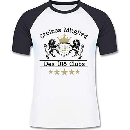 Geburtstag - 18. Geburtstag Stolzes Mitglied des Ü18 Clubs - zweifarbiges Baseballshirt für Männer Weiß/Navy Blau