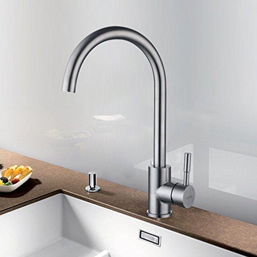 KINSE 360° Drehbar Niederdruck Wasserhahn Küche Armatur Edelstahl Einhandmischer Küchenarmatur Waschbeckenarmatur Spültischarmatur Mischbatterie für Küche
