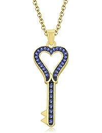 "Silvernshine 1.35 Ct Tanzanite Heart Key Pendant 18"" Chain Necklace In 14K Yellow Gold Fn"
