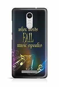 YuBingo When Words Fail, Music Speaks Designer Mobile Case Back Cover for Xiaomi Redmi Note 3