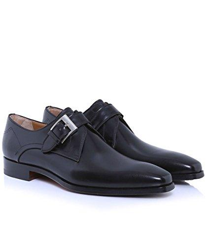 Magnanni Hommes Chaussures de sangle en cuir moine Noir Noir